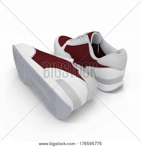 New unbranded running shoe, sneaker or trainer isolated on white background. Rear view. 3D illustration