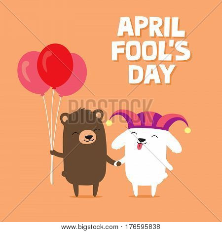 April Fool's Day greeting card with cute bunny rabbit wearing joker hat and bear holding balloons