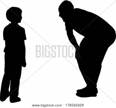 dad talk to his son gently, silhouette vector