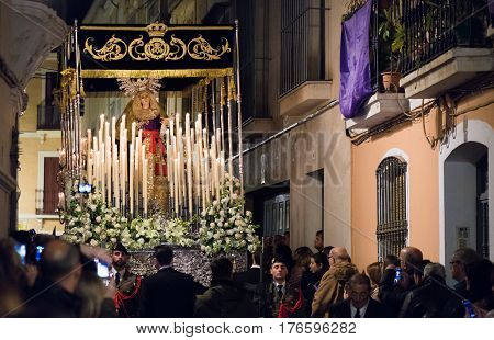 Badajoz Spain - March 21 2016: Statue of the Virgin Mary leaving in procession in holly week in the city of Badajoz Spain