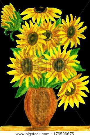 Bouquet of sunflowers hand painted picture acrylic.