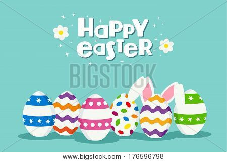 Happy Easter Holiday Card Of Eggs And Rabbit