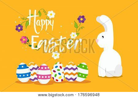 Happy Easter Card Design For Spring Holiday