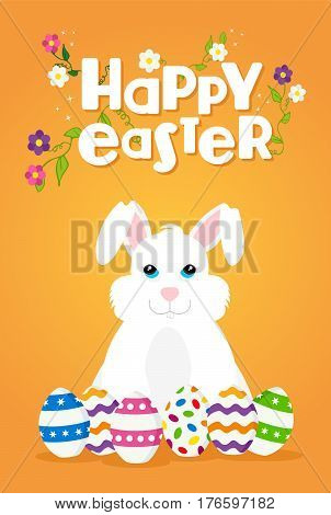 Easter Greeting Card Of Happy Rabbit And Eggs