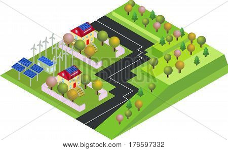 Isometric eco village country with green environment and wind energy propeller. Isolated on blue Background in vector