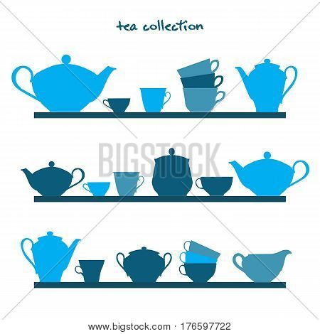 Shelves with tea pots and tea cups. Vector illustration