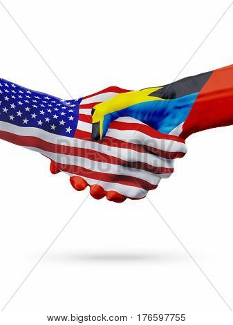 United States, Antigua and Barbuda, countries flags, handshake concept cooperation, partnership, friendship, business or sports competition isolated on white