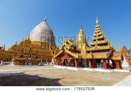 Shwezigon Pagoda with blue sky in Bagan, Myanmar.