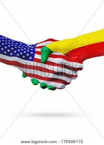 United States and Benin, countries flags, handshake concept cooperation, partnership, friendship, business deal or sports competition isolated on white