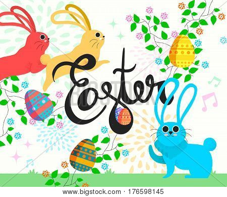 Happy Easter Bunny Illustration In Spring Season