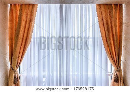 Hallway of the apartment house with curtains in chisinau, moldova