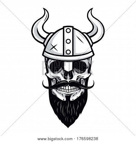 Skull of Viking Warrior Vector Illustration Drawing Icon