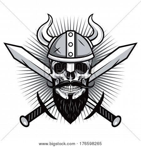 Skull of Viking Warrior with Crossed Swords Vector Illustration