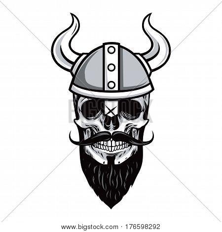 Skull of Viking Warrior Vector Illustration Drawing