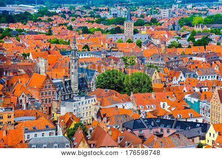 View of the historical medieval buildings in the old town of Bruges, Belgium