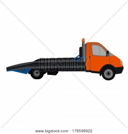 isolated orange tow truck, flat icon, white background. wrecker, breakdown truck