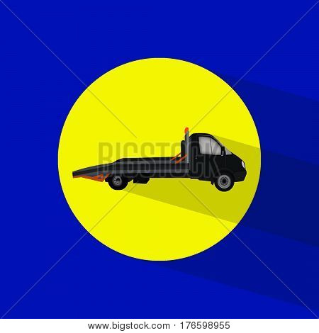 isolated black truck flat icon on a blue background. wrecker, breakdown truck