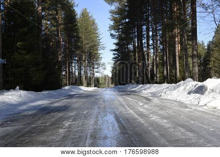 Slippery icy road through the forest with snow on both sides picture from the North of Sweden.