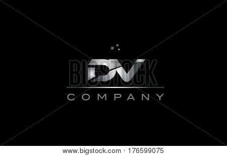 Dv D V  Silver Grey Metal Metallic Alphabet Letter Logo Icon Template