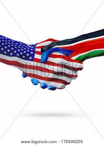 United States and South Sudan, countries flags, handshake concept cooperation, partnership, friendship, business deal or sports competition isolated on white