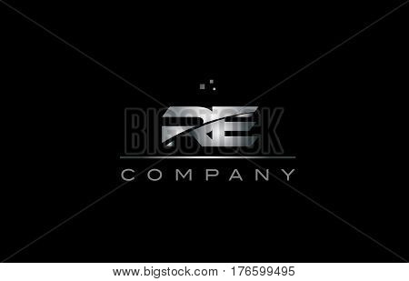 Re R E  Silver Grey Metal Metallic Alphabet Letter Logo Icon Template