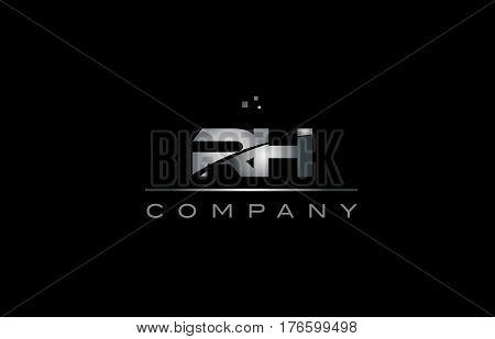 Rh R H  Silver Grey Metal Metallic Alphabet Letter Logo Icon Template