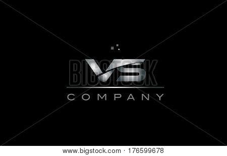 Vs V S  Silver Grey Metal Metallic Alphabet Letter Logo Icon Template