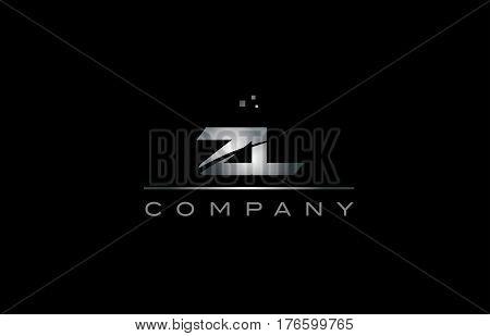 Zl Z L  Silver Grey Metal Metallic Alphabet Letter Logo Icon Template