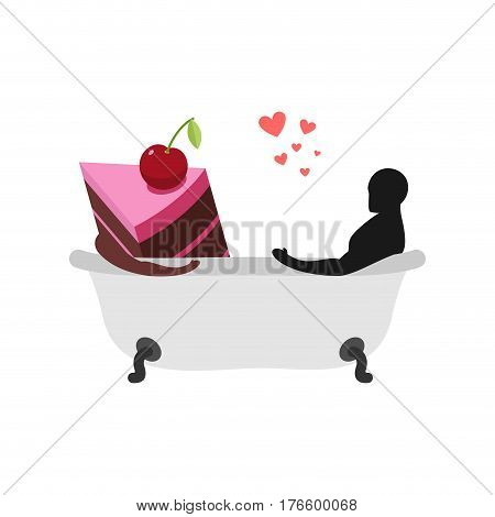 Lover Of Cakes. Man And Piece Of Cake In Bath. Lovers Are Washing In Bathroom. Glutton Of Lifestyle