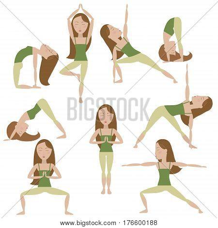 Set of nine yoga poses. Brown hair girl