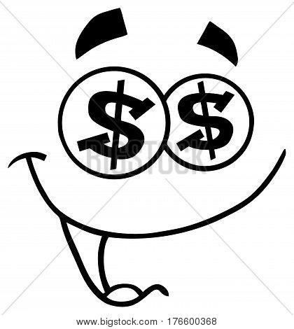 Black And White Cartoon Funny Face With Dollar Eyes And Smiling Expression. Illustration Isolated On White Background