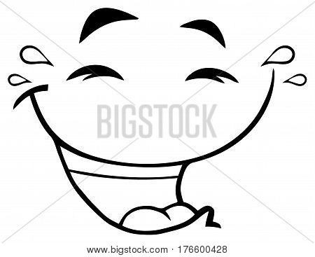 Black And White Laugh Cartoon Funny Face With Smiley Expression. Illustration Isolated On White Background