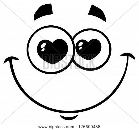 Black And White Smiling Love Cartoon Funny Face With Hearts Eyes Expression. Illustration Isolated On White Background