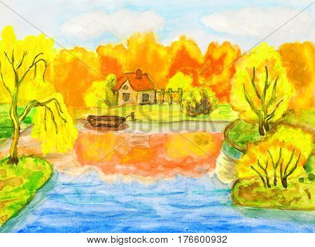 Hand painted picture watercolours - autumn landscape with house and boat.