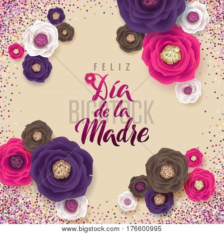 Mother's Day greeting card. Confetti and Floral Background. Spanish Text