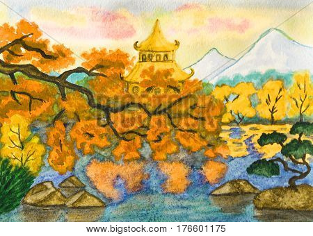 Hand painted picture watercoours - Autumn landscape: Japanese garden with pagoda and mountains.