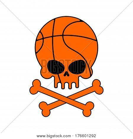 Skull Basketball. Ball Is Head Of Skeleton. Emblem For Sports Fans