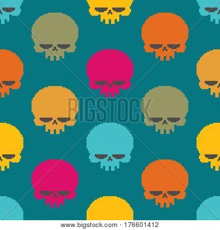 Skull Pixel Art Seamless Pattern. Head Of Skeleton Pixelated Background. Retro 8 Bit Texture