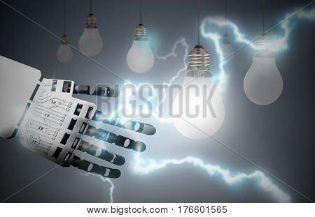Robot hand lighting bulb with a bolt of lightening electricity