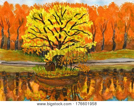 Autumn landscape with red forest and yellow tree hand painted picture watercolors.