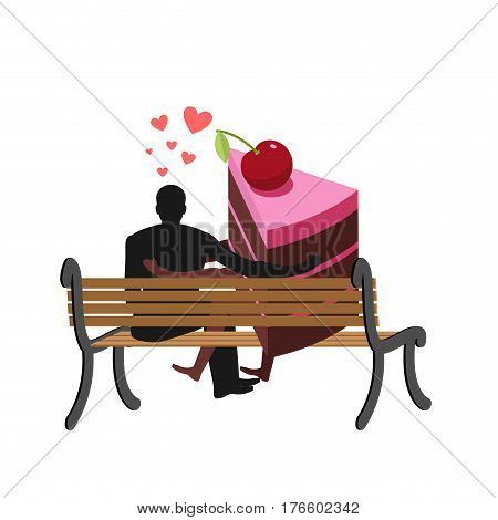 Lover Of Cakes. Man And Piece Of Cake Sitting On Bench. Lovers. Glutton Of Lifestyle