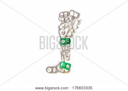 Concept ring pull aluminum cans for make artificial legs isolated on white background