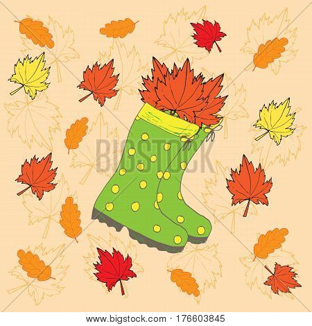 Autumn background with maple red and yellow leaves and a pair of green rainboots. Vector illustration