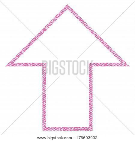 Arrow Up vector textured icon for overlay watermark stamps. Fabric pink vectorized texture. Symbol with dust design. Rubber seal stamp with fiber textile structure.