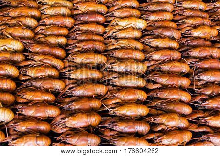 Photo of background with red boiled crawfishes