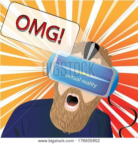 Man with glasses virtual reality.The emotion of surprise. OMG
