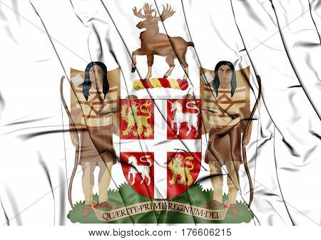 Newfoundland And Labrador Coat Of Arms, Canada. 3D Illustration.