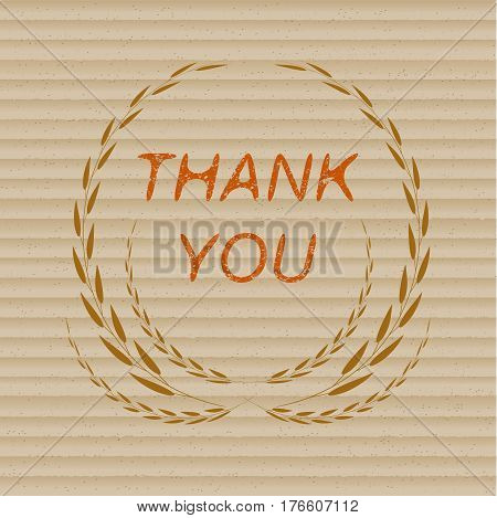 Thank you lettering on cardboard background for your design