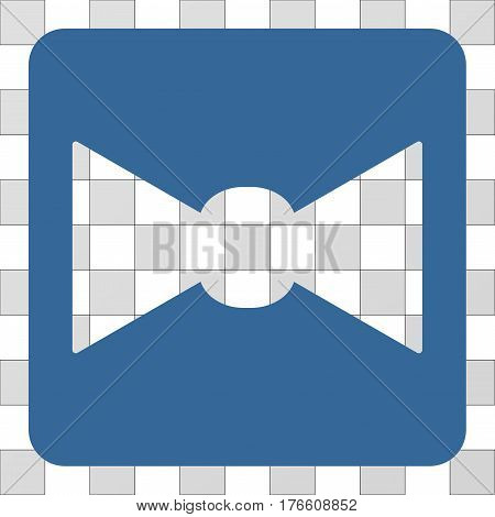 Bow Tie square icon. Vector pictogram style is a flat symbol hole on a rounded square shape, cobalt blue color.