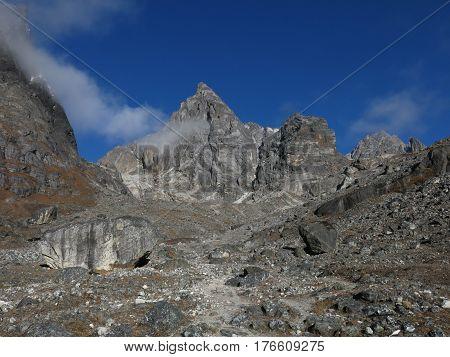Path leading towards Cho La mountain pass Everest national Park Nepal.